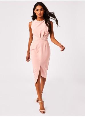 Paper Dolls Sardo Blush Boucle-Trim Midi Pencil Dress