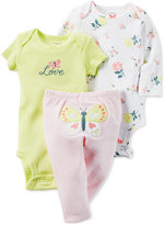 Carter's Baby Girls' 3-Pc. Bodysuits & Butterfly Pants Set