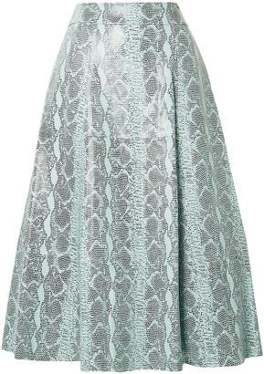 Alice + Olivia Sosie Snake-print Leather Midi Skirt