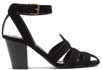 Saint Laurent Oak Caged Suede Sandals - Womens - Black