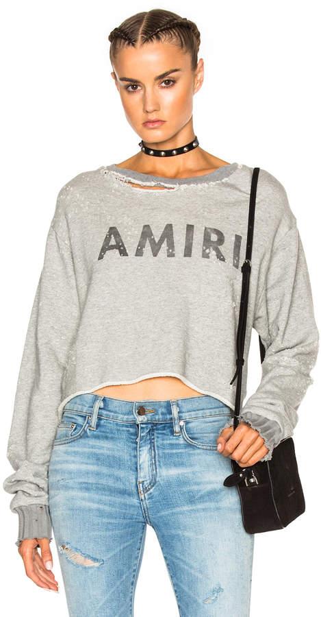 Amiri Cropped Sweatshirt in Grey | FWRD