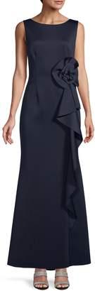 Eliza J Sleeveless Cascade Ruffle Gown