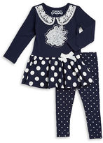 Flapdoodles Girls 2-6x Polka Dot Dress and Leggings Set