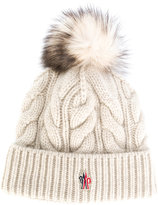 Moncler cable knit bobble hat