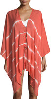 Elan Butterfly-Sleeve Striped Coverup
