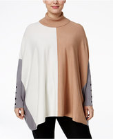 Alfani Plus Size Colorblock Turtleneck Poncho Sweater, Only at Macy's