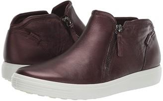 Ecco Soft 7 Zip Bootie (Fig Metallic Cow Leather) Women's Shoes