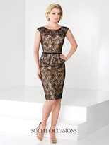 Social Occasions by Mon Cheri Social Occasions - Two-Piece Lace Illusion Bateau Neck Dress 215815