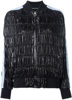 Versace ruched bomber jacket - women - Silk/Polyamide/Polyethylene/Viscose - 40