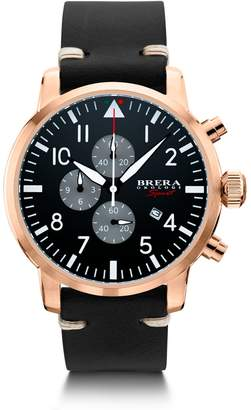 Brera Orologi Sport Mens Tornado Pilot Watch Rose Gold Black Dial Black Leather Strap