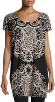 Neiman Marcus Short-Sleeve Printed Tunic, Black/Tan Print
