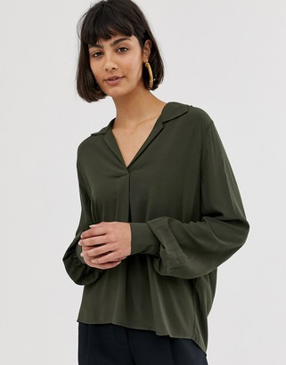 Selected long sleeve shirt with volume sleeve-Gray