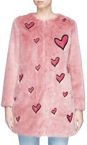 Alice + Olivia 'Madge' heart patch faux fur long coat