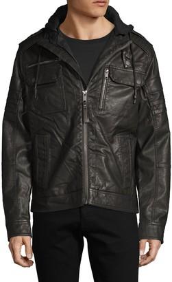 ProjekRaw Projek Raw Hooded Faux Leather Jacket