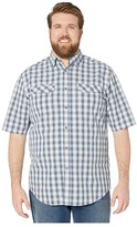 Wolverine Big Tall Pentwater Vented Back Short Sleeve Shirt (Bay Blue Plaid) Men's Clothing