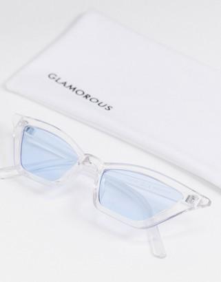 Glamorous slim cat eye sunglasses in clear