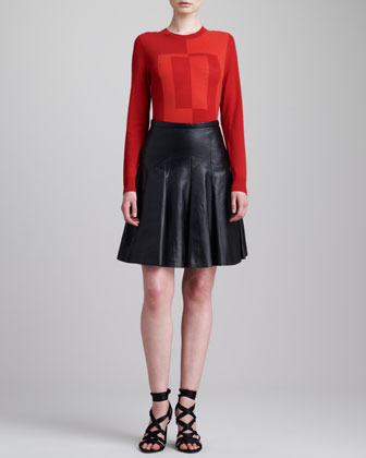 Jason Wu Lamb Leather Flounce Skirt, Black