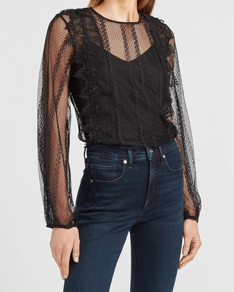Express Sheer Lace Crew Neck Top