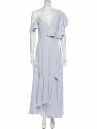 ADEAM V-Neck Long Dress Blue