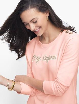 "Talbots Button Shoulder ""City Safari"" Sweatshirt"