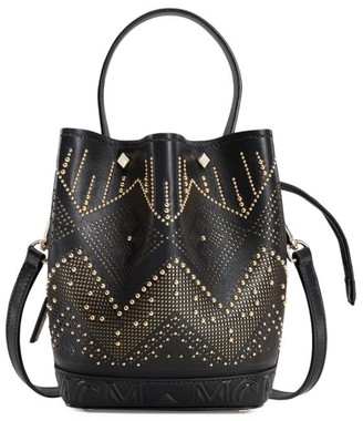 MCM Mini Milano Embellished Leather Bucket Bag