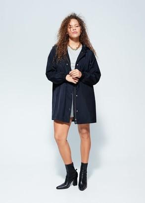 MANGO Violeta BY Detachable hood trench coat dark navy - S - Plus sizes