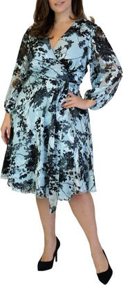 Maree Pour Toi Floral Long Sleeve Burnout Wrap Dress