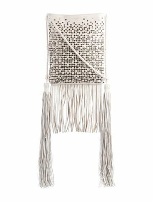 Saint Laurent Tanger Fringe Crossbody Bag White