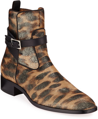 Christian Louboutin Men's Kicko Leopard-Print Red Sole Boots