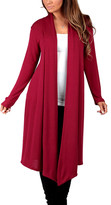 California Trading Group Women's Open Cardigans Burgandy - Burgundy Soft Knit Duster - Women & Plus