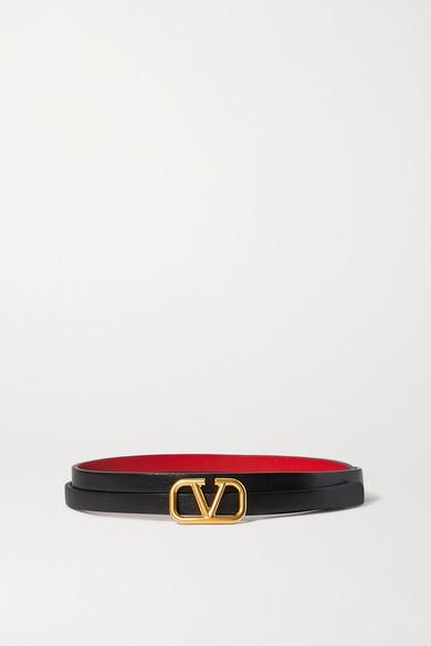 Valentino Garavani Vlogo Reversible Leather Belt - Black