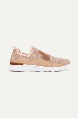 APL Athletic Propulsion Labs Techloom Bliss Stretch-faille Trimmed Metallic Mesh And Neoprene Sneakers - Pink