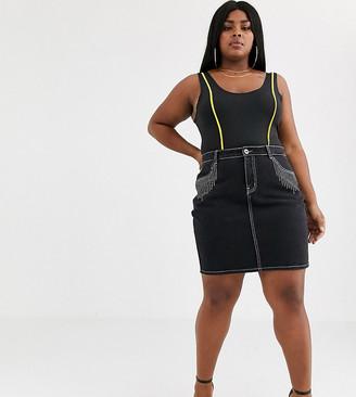 N. Liquor Poker Plus denim skirt with diamante fringing-Black