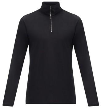 Jil Sander Zipped Roll-neck Cotton-blend Top - Black