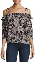 Ella Moss Off-the-Shoulder Floral-Print Blouse, Black