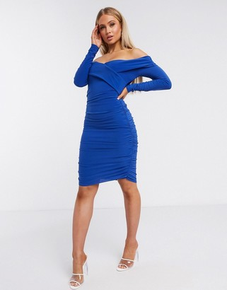 Club L London Club L sweetheart long sleeved ruched mini dress in cobalt