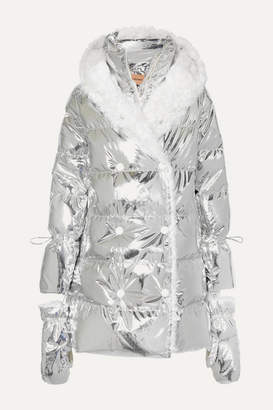 Yves Salomon Hooded Shearling-trimmed Quilted Metallic Shell Down Coat - Silver