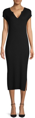525 America Ribbed Side-Slit Sheath Dress