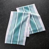 Crate & Barrel Set of 2 Cuisine Stripe Aqua Dish Towels