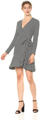 Nicole Miller Women's Geometric Knit Wrap Dress