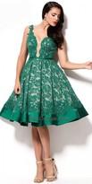 Mac Duggal Lace Halter Rhinestone Dress