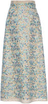 Luisa Beccaria Linen Embroidered Maxi Skirt