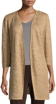 Ming Wang 3/4-Sleeve Open-Front Jacket, Camel