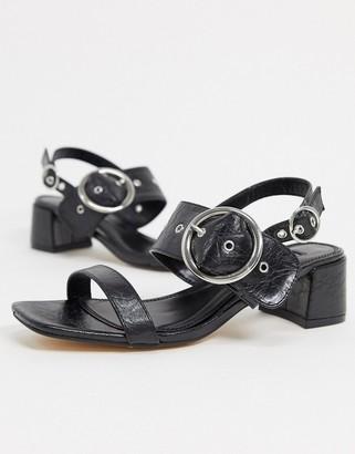 Topshop dakota buckle detail block heel in black