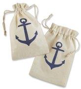 """Kate Aspen Voyages"""" Anchor Muslin Favor Bag, Set of 12"""