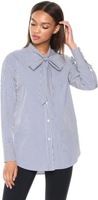 Theory Women's Long Sleeve Weekender TIE Neck Shirt