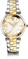 Versace Revive 3H Stainless Steel and PVD Gold Plated Women's Watch w/White Mother of Pearl Dial