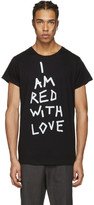 Ann Demeulemeester Black 'I Am Red With Love' T-Shirt