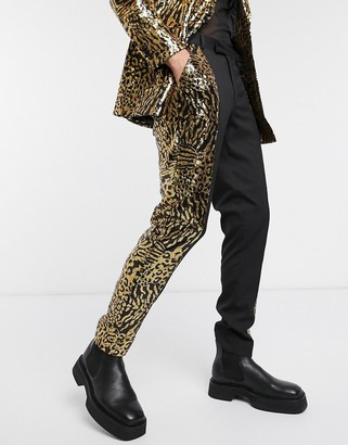 ASOS DESIGN skinny suit pants in tiger sequin with black panelling