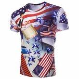 QIYUN.Z Stars And Stripes USA American Flag July 4 Print Men Short Sleeve Shirt Blouse